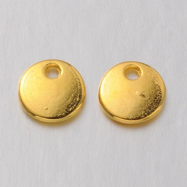 Charm Round Gold 8mm Nickel Free, 8 pieces