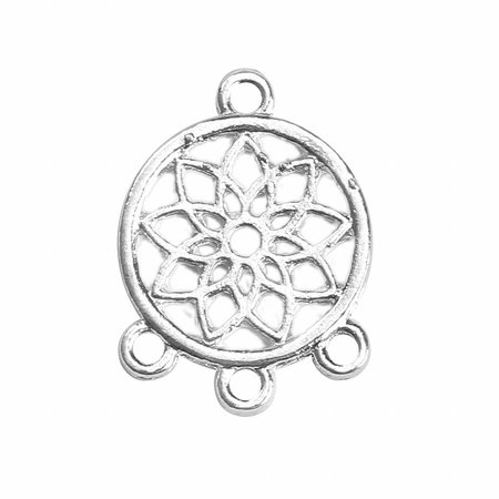 Lotusflower Connector Silver 19x14mm, 3 pieces
