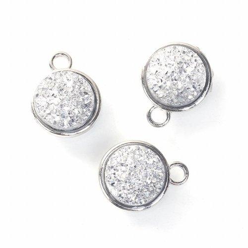 Druzy Glitter Bedel Zilver 18x15mm