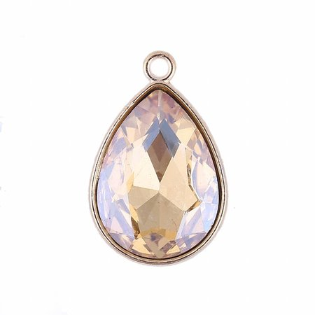 Glass Drop Charm Champagne 23x15mm