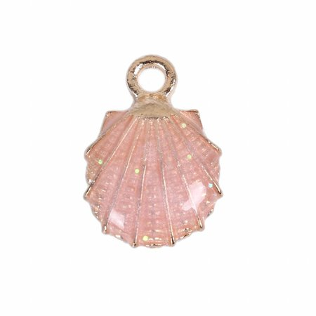 3 pieces Enamel Shell Charm Pink 19x13mm