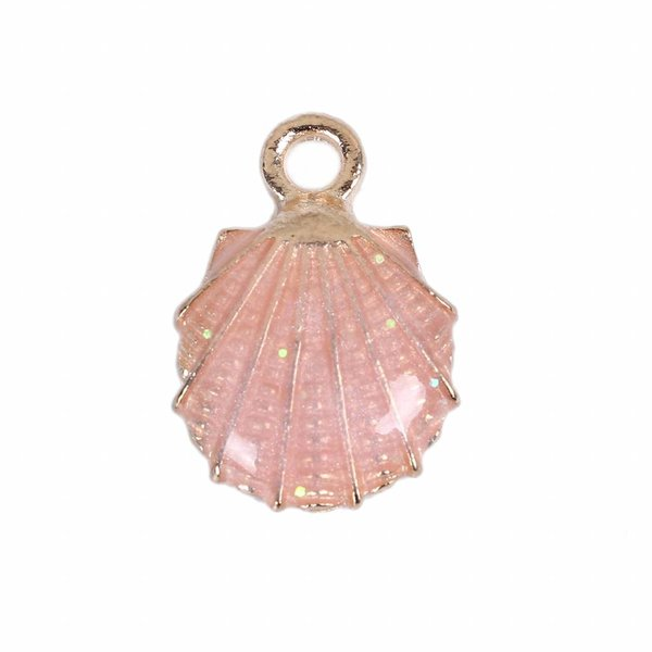 Enamel Shell Charm Pink 19x13mm, 3 pieces