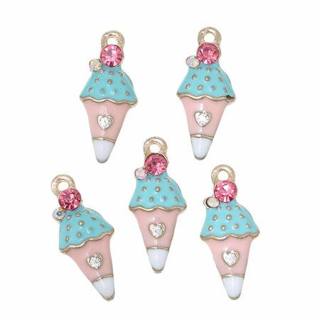 3 pieces Ice Cream Charm with strass 23x20mm