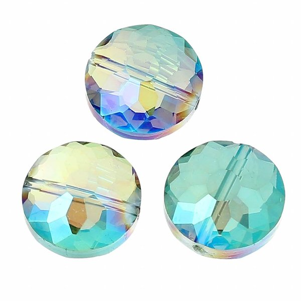 Luxury Faceted Beads Mermaid Green Shine 14mm, 5 pieces