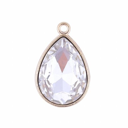 Glass Drop Charm Crystal 23x15mm