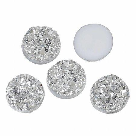 5 stuks Druzy Glitter Cabochon Zilver 12mm