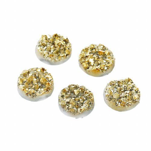 5 pieces Druzy Glitter Cabochon Gold 12mm