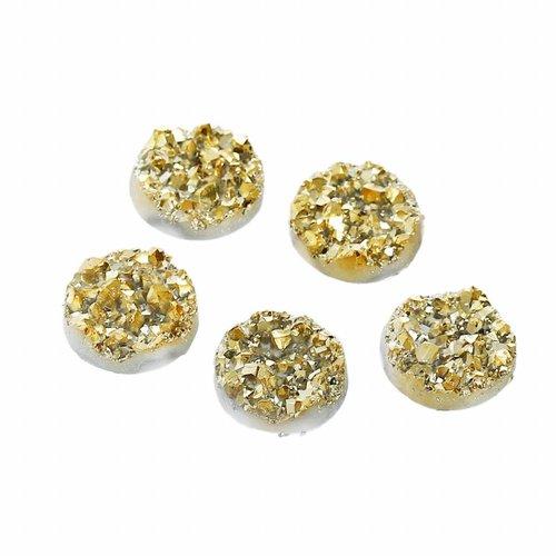 5 stuks Glitter Cabochon Goud 12mm