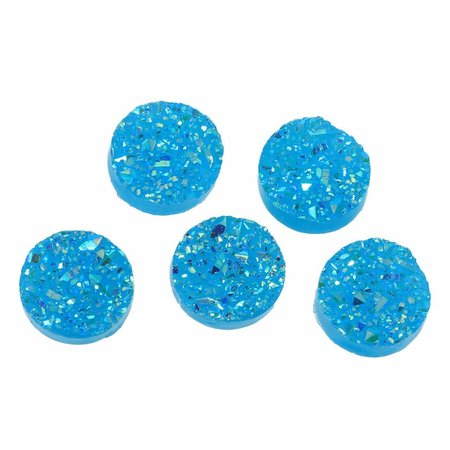 5 pieces Druzy Glitter Cabochon Blue 12mm