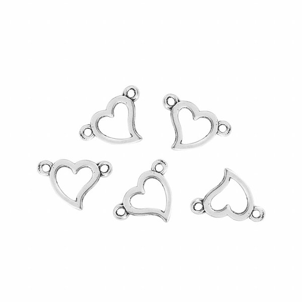 Spacer Heart Silver 15x10mm, 5 pieces