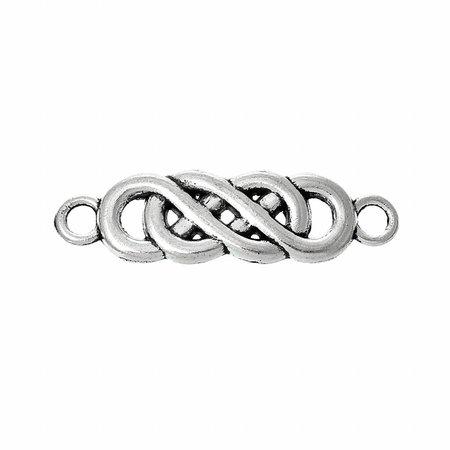Tussenzetsel Infinity Twist Zilver 22x6mm, 5 stuks