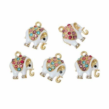 3 pieces Elephant Charm with Rhinestones 18x15mm