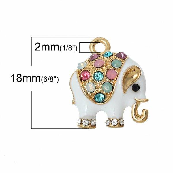 Elephant Charm with Rhinestones 18x15mm, 3 pieces