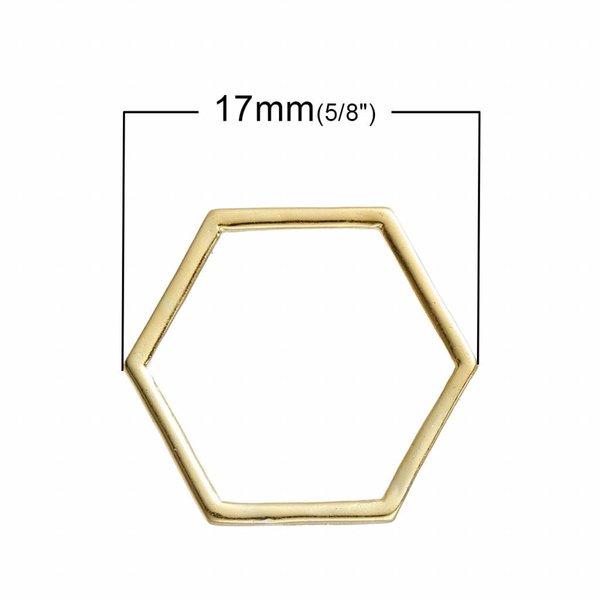 Honeycomb Tussenzetsel Goud 17x15mm, 8 stuks