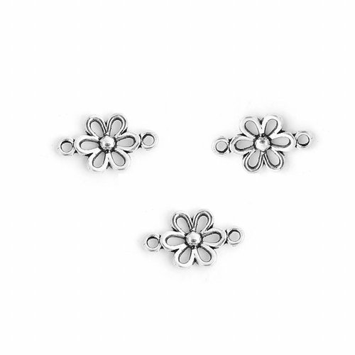 Flower Connector Silver 15x9mm, 8 pieces