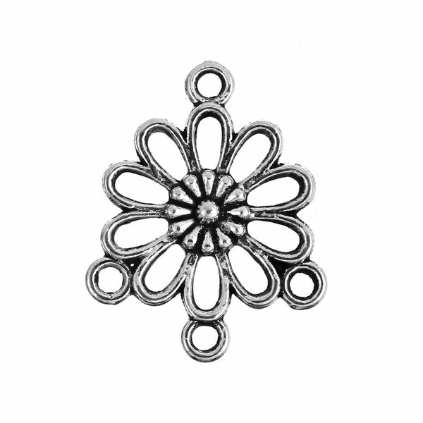 Chandelier Flower Spacer Silver 23x18mm, 6 pieces