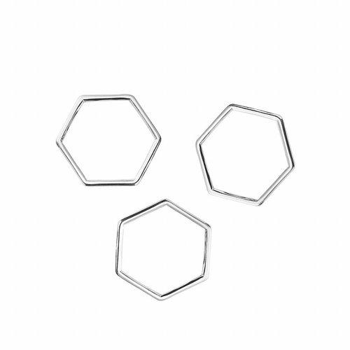 Honeycomb Zilver 17x15mm, 8 stuks