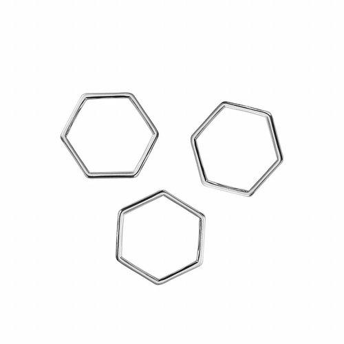 Honeycomb Zilver 11x10mm, 8 stuks