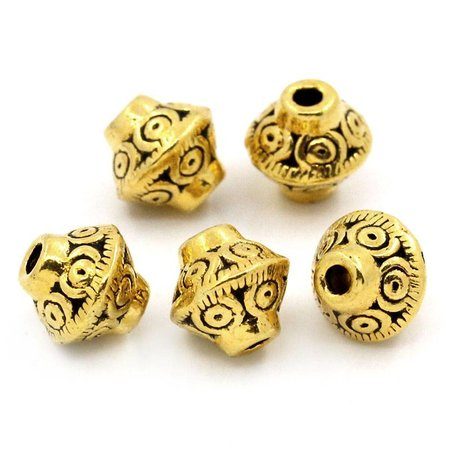 Bicone Spacer Beads Goud 7x6mm, 15 stuks
