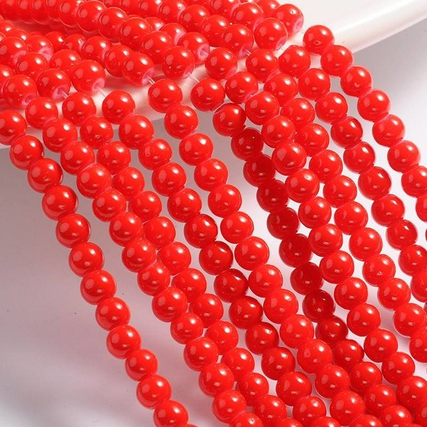 80 pcs Glass beads Red 4mm
