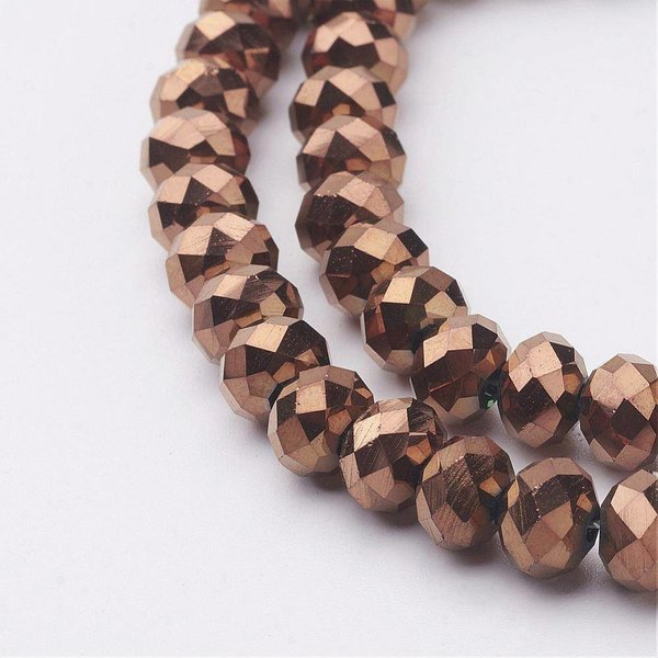 30 pcs Faceted Bead Brown Metallic 8x6mm