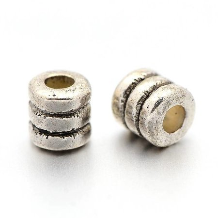 20 pieces Tube Spacer Beads Silver Nickel Free 4x2mm