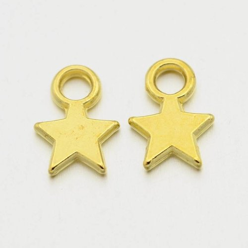 20 pieces Star Charm Gold 8x11mm Nickel Free