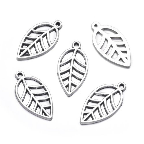Charm Silver Leaf 23x12mm, 6 pieces