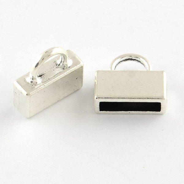 Eindkap Zilver Voor Plat Leer 10mm, 4 stuks