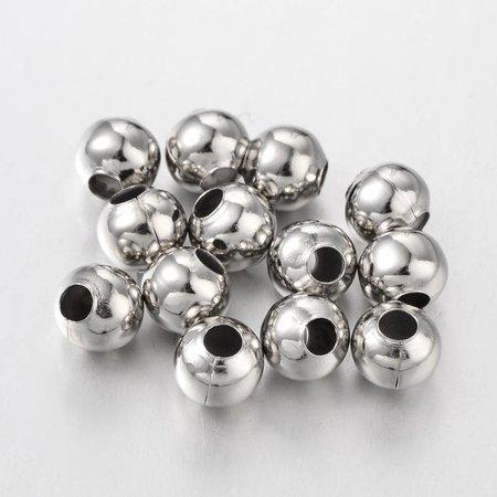 20 Stuks Spacer Beads Zilver 8mm