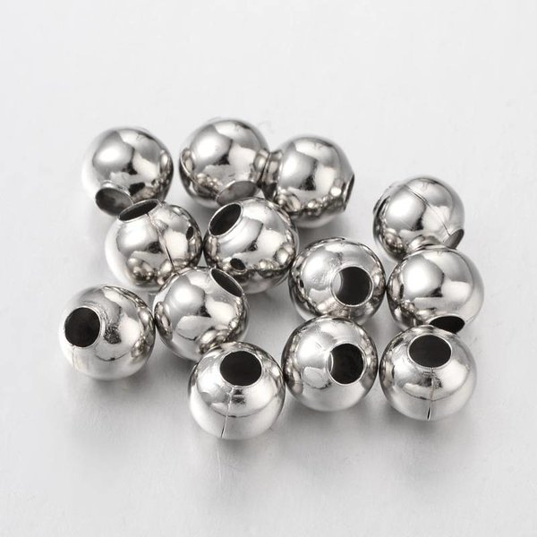 20 Pieces Silver Spacer Beads 8mm