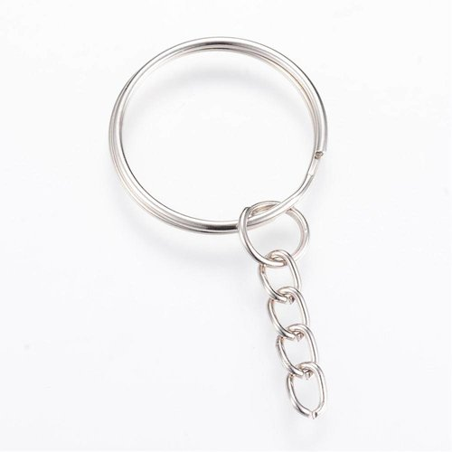Silver Keychain With 24mm Ring And Chain, 8 pieces