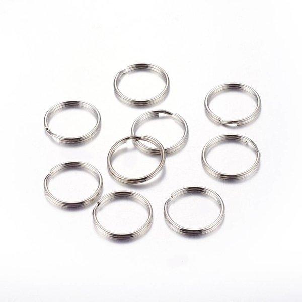 Splitring Double Loop Ring Silver 6mm Nickel Free, 40 pieces