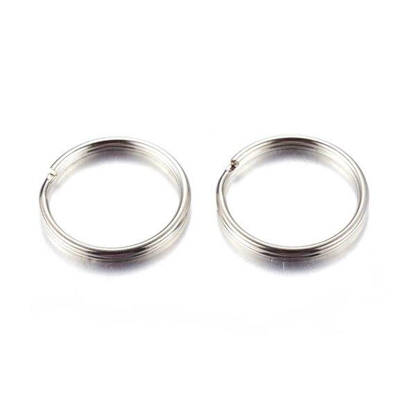Splitring Double Loop Ring Silver 5mm Nickel Free, 40 pieces