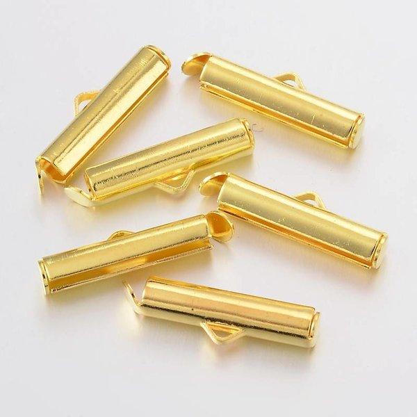 Eindkap voor Weefarmbandje Goud 20mm, 6 stuks