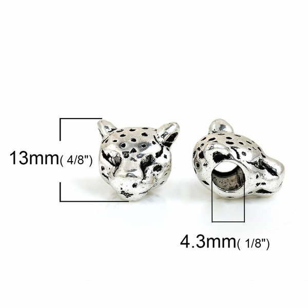 Leopard Bead Silver 13x11mm, 3 pieces