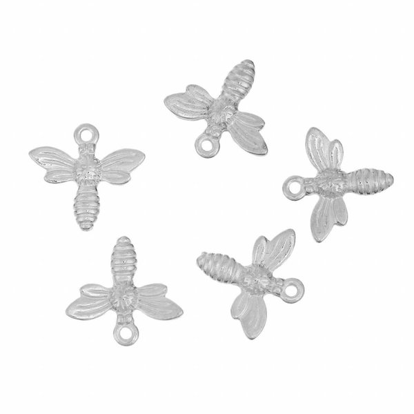Bee Charm Silver 15mm, 6 pieces
