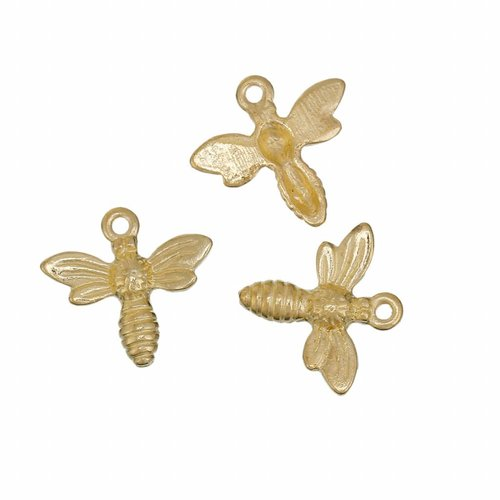 Bee Charm Gold 15mm, 6 pieces