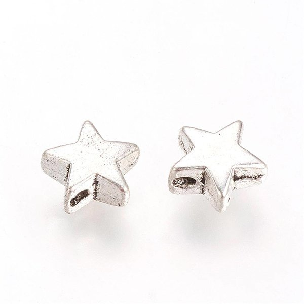 Metal Beads Star Silver 8mm, 10 pieces