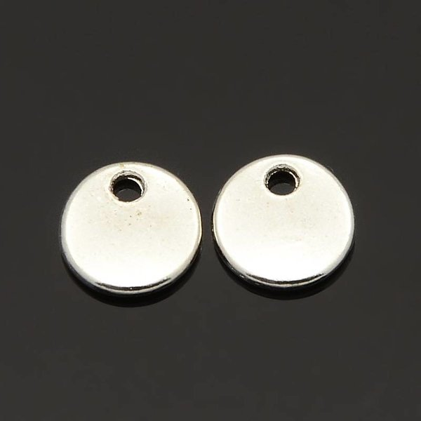 Coin Charm Silver 8mm, 10 pieces
