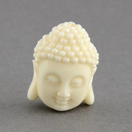 3 pieces Buddha Bead White 15x11mm