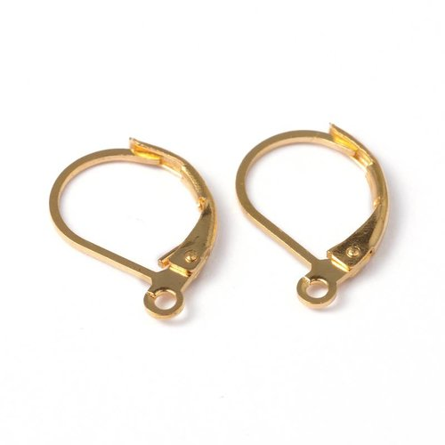 Hoop Earrings Gold 10x15mm, 10 pieces