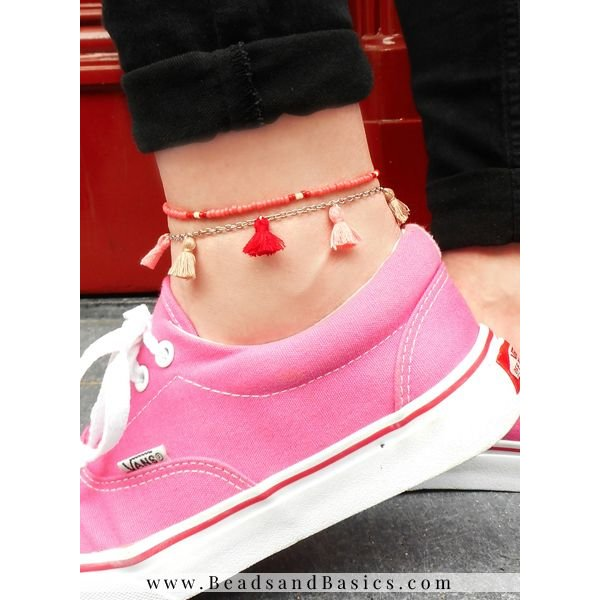 Anklet Bracelet  From Beads And Tassels - Pink With Red