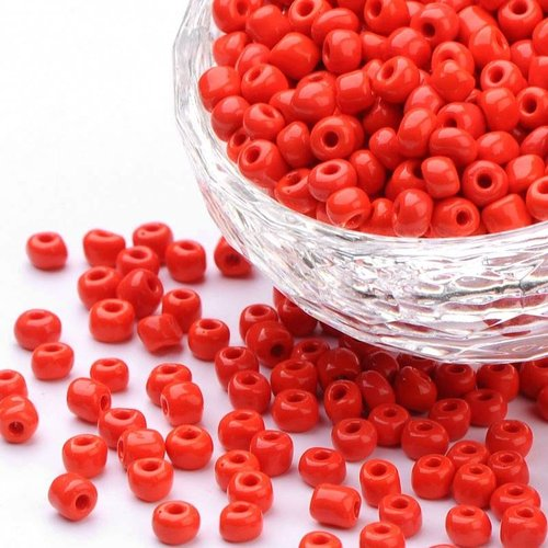 Seed Beads 4mm Red, 20 gram