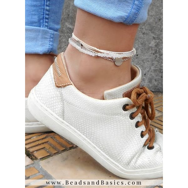 Anklet Bracelet With Silver Coin Charm And Beads