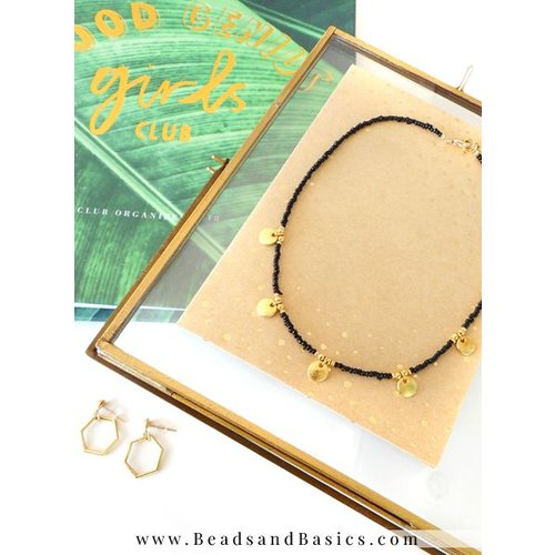 Gold Coin Necklace With Black Rocailles Beads