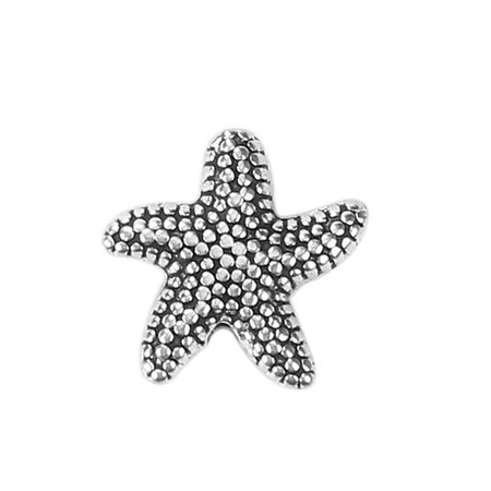 Metal Beads Starfish Silver 14mm, 4 pieces