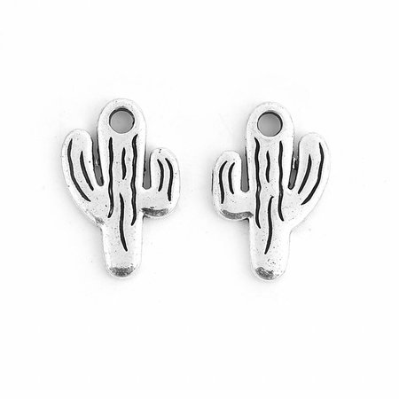 Cactus Charm Silver 19x13mm, 5 pieces