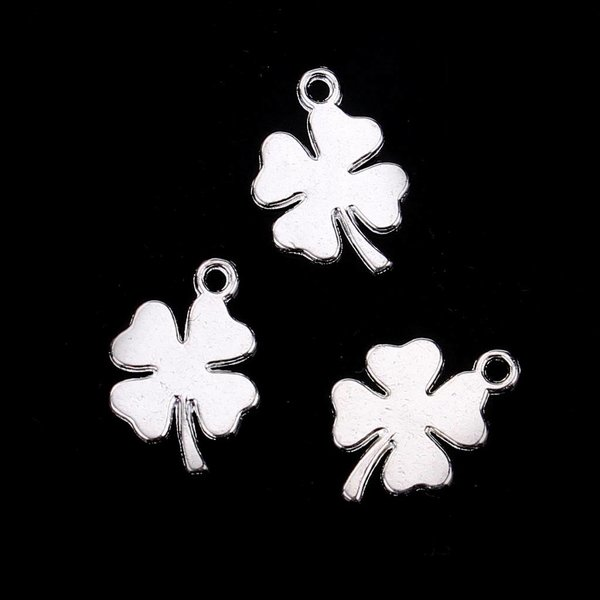 Four Leave Clover Charm Silver Plated 18x13mm, 5 pieces