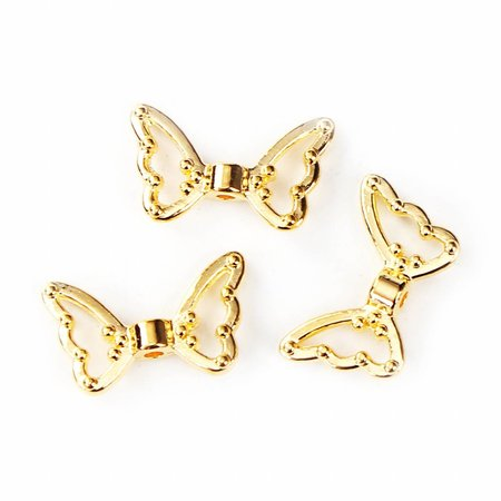 Wing Beads Gold 18x11mm, 6 pieces